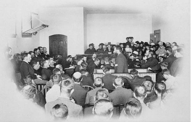 Louis Riel addressing the jury during his trial for treason.