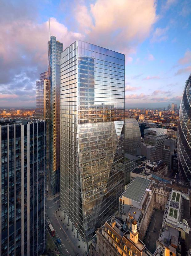 A rendering of 100 Bishopsgate, London, UK.