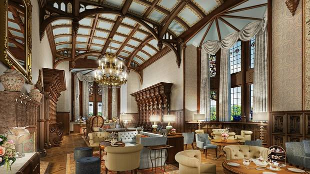 Afternoon tea awaits in the newly restored Adare Manor's gallery in Ireland's County Limerick.