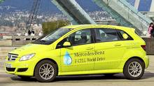 The Mercedes-Benz B-Class F-CELL dropped anchor in Vancouver last week, 11,000 kilometres into its 125-day, 30,000-kilometre around-the-world demonstration drive. (Mercedes-Benz)