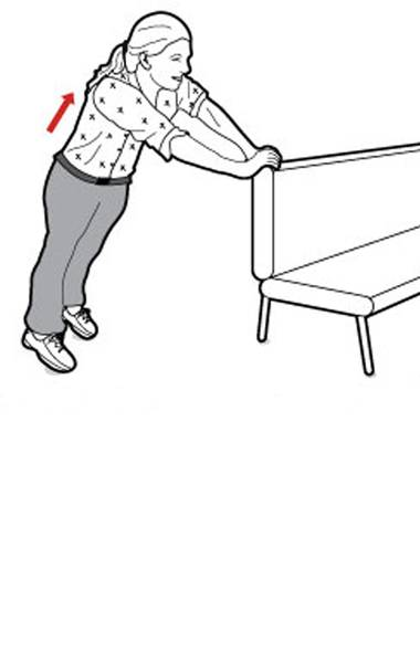 Start by placing your hands on the edge of your sofa and toes on the floor, so that your body forms a plank position. Make sure your hips are not up in the air and that your lower back is not arching. (Carrie Cockburn/The Globe and Mail)