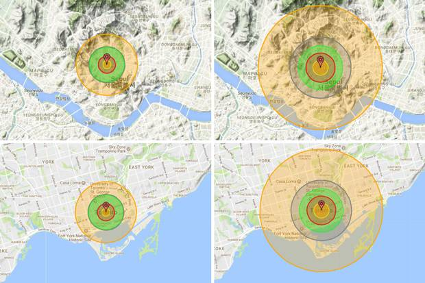 Here's how 50- and 250-kiloton nuclear strikes would look on the Nukemap, a detonation simulator created by researcher Alex Wellerstein. Above, the impact of a strike on Seoul; below, comparable impacts in downtown Toronto. The small orange circles are the fireballs; within the grey circles, the air blast would be powerful enough to collapse most residential buildings; and in the biggest orange circles, it would be hot enough to cause third-degree burns in humans. Dangerous radiation would spread over even larger areas.