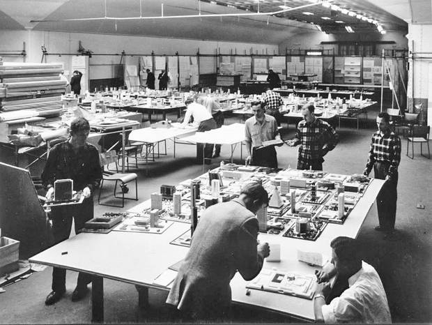 Architectural models in the City Hall design competition, 1957.