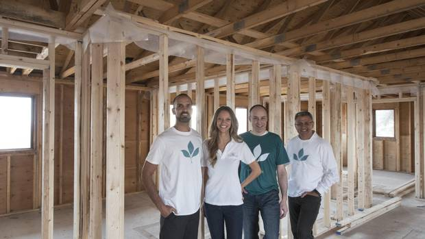 Allen Jovica of Jovica Property Management, behavioural therapist Twyla Hayes, builder Cory Krygier and developer Sano Stante, inside the former Renfrew convent they are renovating into specialized housing.