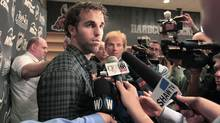 Andrew Ladd, captain of the former Atlanta Thrashers, talks to media after arriving at MTS Centre, the home of the new NHL franchise in Winnipeg, Thursday, June 9, 2010. (JOHN WOODS/John Woods/The Canadian Press)