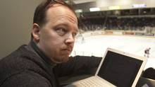 Mike Davies, Peterborough Examiner sportswriter continues to cover Peterborough Petes hockey games despite being visually impaired and considered legally blind, February 26, 2012. FRED THORNHILL FOR THE GLOBE AND MAIL (FRED THORNHILL/THE GLOBE AND MAIL)