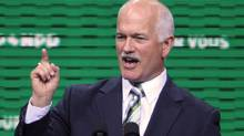 NDP leader, Jack Layton, delivers his keynote speech to conclude the the New Democratic Party National Convention in Halifax, Sunday. (Tim Krochak)