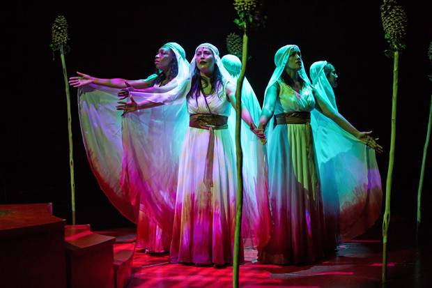 The chorus in the Stratford Festival's Bakkhai.