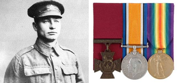 Harry W. Brown and his set of Victoria Cross medals.