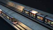 This Metrolinx-TTC rendering shows LRT cars passing on Eglinton LRT line.