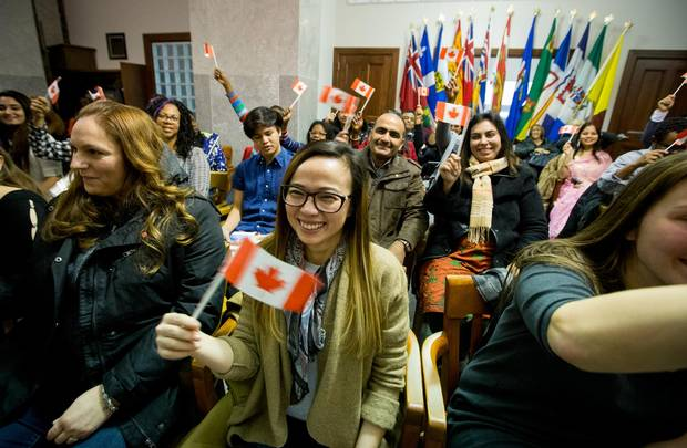 Thirty-seven people from around the world are sworn in as Canadian citizens in Kitchener on December 22, 2016,