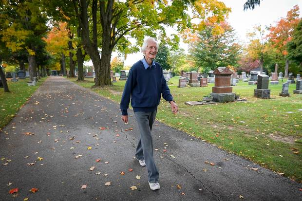Ed's favourite training ground was the local cemetery in Milton, Ont., his hometown. Here he is walking there on Oct. 17, 2016, the day after he shattered the world record for his age group at the Scotiabank Toronto Waterfront Marathon, with a time of three hours, 56 minutes and 38 seconds.