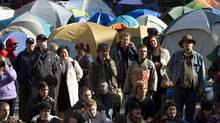 Occupy Vancouver protesters are seen in their tent city outside the Vancouver Art Gallery in downtown Vancouver, Monday, Oct. 17, 2011. (JONATHAN HAYWARD/THE CANADIAN PRESS)