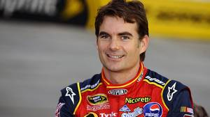 Race car driver Jeff Gordon poses before the NASCAR Sprint Cup Sharpie 500 in 2008.