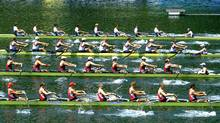 From top: Powerful start of Ukraine, Great Britain, Canada and Poland during the men's Eight Heat 2 race at the World Rowing Cup on Lake Rotsee in Lucerne, Switzerland, Friday, May 25, 2012. (Sigi Tischler/AP/Sigi Tischler/AP)