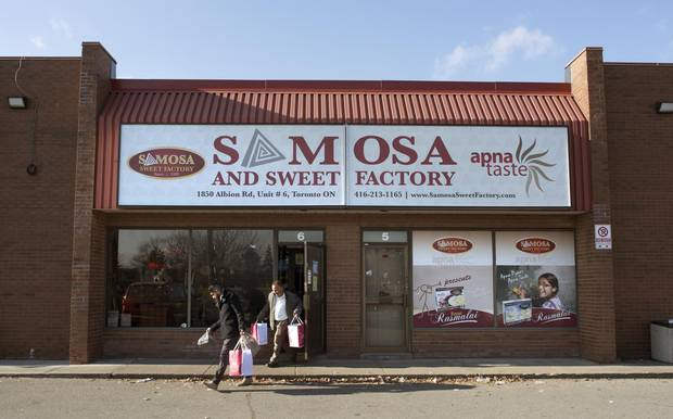 The Samosa and Sweet Factory is shown in Toronto's Rexdale area on Dec. 8, 2017.