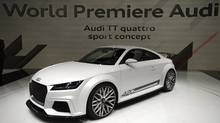 The new Audi TT quattro sport concept is on display at the 84. Geneva International Motor Show in Geneva, Switzerland, Tuesday, March 4, 2014. (AP Photo/Keystone,Martial Trezzini) (Martial Trezzini/AP)