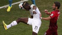 Ghana's John Boye (21) scores an own goal during their 2014 World Cup Group G soccer match against Portugal at the Brasilia national stadium in Brasilia June 26, 2014. (Reuters)