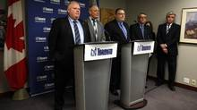 Mayor Rob Ford, Deputy Mayor Doug Holyday, Executive Director of Human Resources Bruce Anderson, Chief Negotiator Bob Reynolds and City Manager Joe Pennachetti during a press conference to discuss the latest information on negotiations with the CUPE 79 in Toronto, on March 29, 2012. (Deborah Baic/Globe and Mail)
