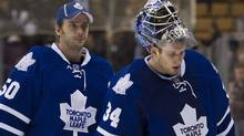 Embattled Leafs goalies Jonas Gustavsson and James Reimer. (Nathan Denette/Nathan Denette/The Canadian Press)