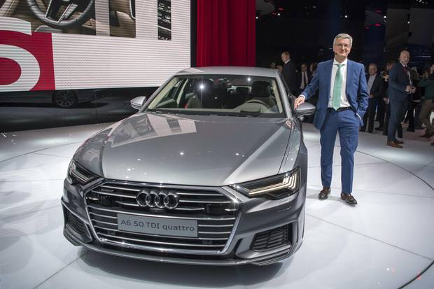 Rupert Stadler, Audi CEO is presenting The New Audi A6, during the press day at the 88th Geneva International Motor Show in Geneva, Switzerland, Tuesday, March 6, 2018. The Motor Show will open its gates to the public from March 8 to March 18 presenting more than 180 exhibitors and more than 110 world and European premieres.