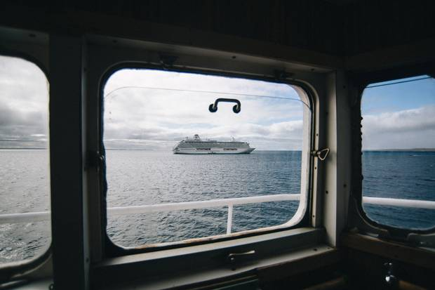 The Crystal Serenity cruise ship, as seen from the bridge of Canada C3.