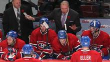 Montreal Canadiens head coach Michel Therrien talks to the players during the third period against St. Louis Blues at Bell Centre. (Jean-Yves Ahern/USA TODAY Sports)