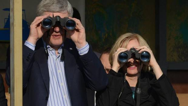 Prime Minister Stephen Harper and Laureen Harper take a tour of the future site of the Stephen J. Harper Hula Valley Bird Sanctuary Visitor and Education Centre in Hula valley, Israel on Wednesday, January 22, 2014. (Sean Kilpatrick/THE CANADIAN PRESS)