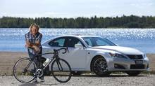 Retired Olympic cyclist Curt Harnett with his 2012 Lexus IS F. (Tim Fraser for The Globe and Mail)