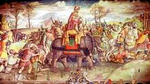 Hannibal and his army crossing the Alps with elephants. (Thinkstock/Thinkstock)