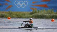 Niger's Hamadou Djibo Issaka rows in the men's single sculls repechage at Eton Dorney during the London 2012 Olympic Games July 29, 2012.