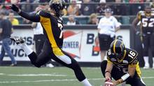 The NFL's Carolina Panthers have signed former Hamilton Tiger-Cats kicker Justin Medlock. (MIKE CASSESE/REUTERS)