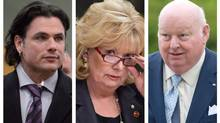 Left to right: Senators Patrick Brazeau, Pamela Wallin and Mike Duffy are seen in this combination of three file photos. The Conservative government leader in the Senate says he will discuss options for easing sanctions against the three senators (Adrian Wyld/The Canadian Press)