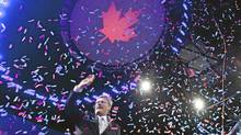 Prime Minister Stephen Harper on stage after speaking in Calgary May 2, 2011 after Canadians went to the polls in the federal election. (John Lehmann/The Globe and Mail/John Lehmann/The Globe and Mail)