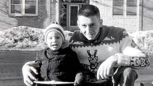 Peter Cheney at age two in Sydney, Nova Scotia with his father, Major Ben Cheney