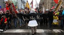 Will Morin of Subury, Ont., marches toward Parliament Hill during Idle No More protest, Jan. 11, 2013. (Dave Chan for The Globe and Mail)