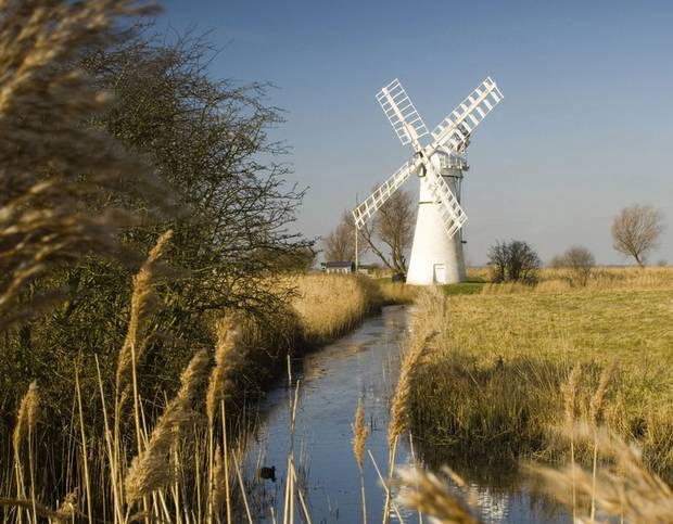 No, it's not the Netherlands. The windmills of Norfolk have been used for drainage and grinding.