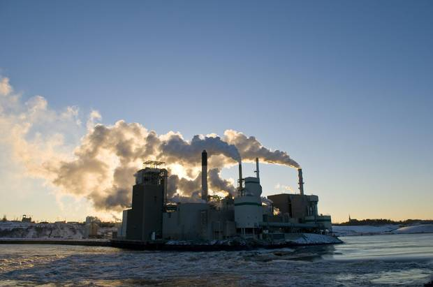 The Irving Pulp and Paper Mill, seen in Saint John, is one of many that run along the province's major river.