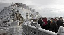 A spring snow at the Potala Palace in Lhasa, in west China's Tibet region. (AP)