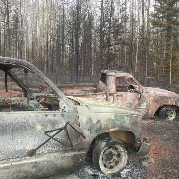 Two trucks burned out on Phoenix Heli-Flight's complex in Fort McMurray.
