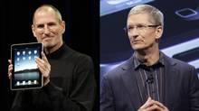 Composite of the late Steve Jobs and Tim Cook