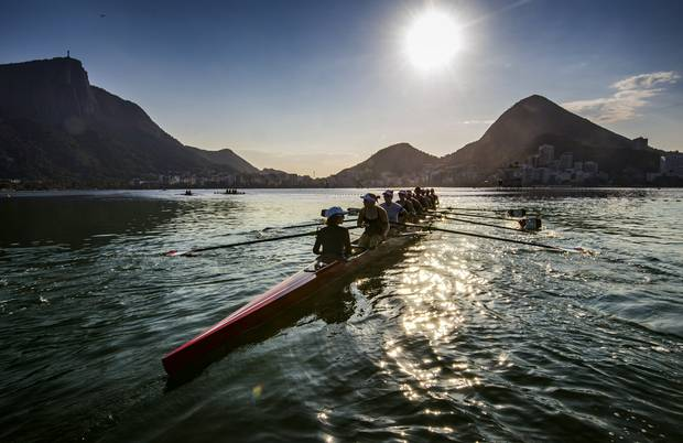 Lesley Thompson-Willie coxswain (foreground) and Canadian Women's eight during practice ahead of the 2016 Olympic games in Rio at the Lagoa Stadium August 5, 2016.