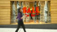 A sale sign is seen at Aritzia at the Eaton Centre in Toronto. (Kevin Van Paassen/Kevin Van Paassen/The Globe and Mail)