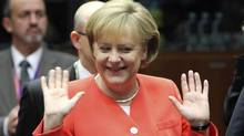 German Chancellor Angela Merkel gestures during the EU summit in Brussels on Thursday. Ms. Merkel wants the G20 to adopt a global financial levy on bank transactions. (Geert Vanden Wijngaert/Geert Vanden/Associated Press)