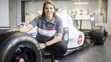 Simona de Silvestro poses at the Sauber headquarters in Hinwil, Switzerland, Friday, Feb. 14, 2014. She will be an affiliated driver with Sauber this year with a goal of competing for a Formula One seat in 2015. (Ennio Leanza/AP Photo)