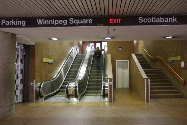 Underground walkways connect to the Winnipeg Square shopping centre.