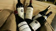 Expensive wines that will part of one of two wine auction (Jim Ross for The Globe and Mail)