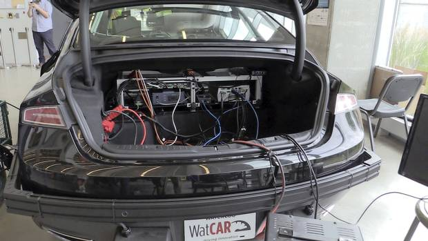 The trunk on the Waterloo Centre for Autonomous Research self-driving car