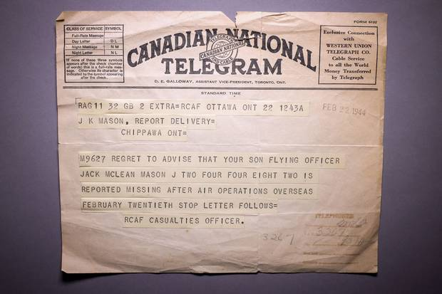 A telegram informs Jack Maclean Mason's parents that he is missing in action.