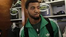New York Jets' Aaron Maybin talks to reporters in the Jets' locker room in Florham Park, N.J., Monday, Jan. 2, 2012. Maybin is now a Toronto Argonaut.The former first-round draft pick of the NFL's Buffalo Bills joined the CFL club's practice roster Sunday, three days after watching Toronto's 36-21 home win over the Winnipeg Blue Bombers. (SETH WENIG/AP)